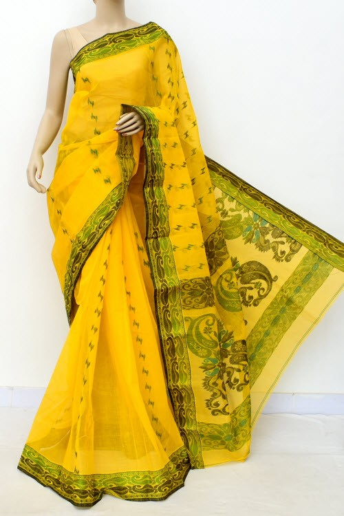 Yellow Designer Handwoven Bengal Tant Cotton Saree (Without Blouse) 17557