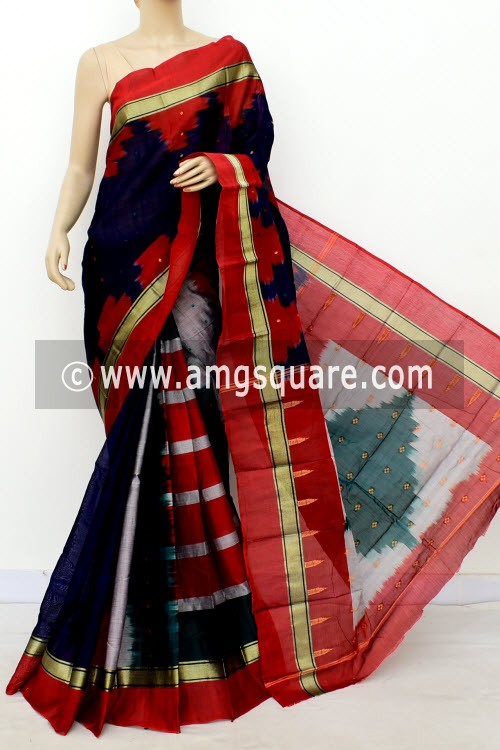 Navy Blue Red Handwoven Bengal Tant Soft Cotton Saree (With Blouse) 17568