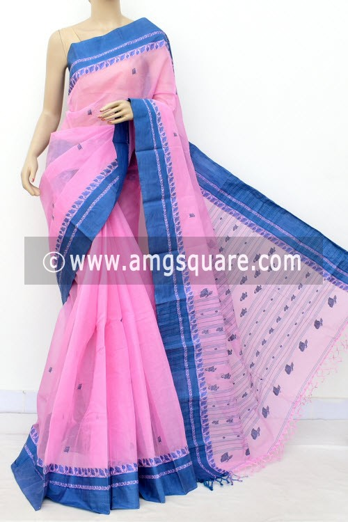 Pink Exclusive Handwoven Bengal Tant Cotton Saree (With Blouse) 17572
