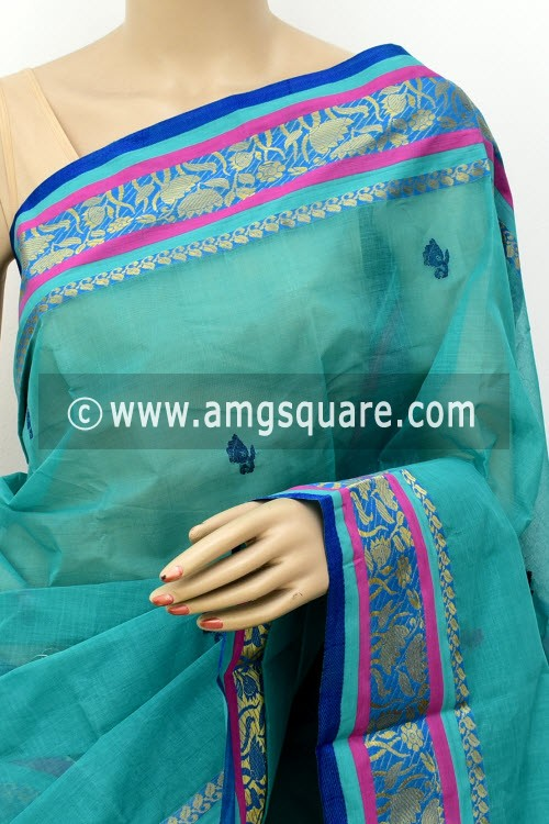 Sea Green Exclusive Handwoven Bengal Tant Cotton Saree (With Blouse) 17573