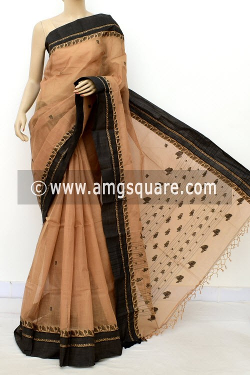Fawn Exclusive Handwoven Bengal Tant Cotton Saree (With Blouse) Resham Border 17576