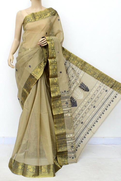 Ash Color Trendy Handwoven Bengal Tant Cotton Saree (Without Blouse) Zari Border 17586