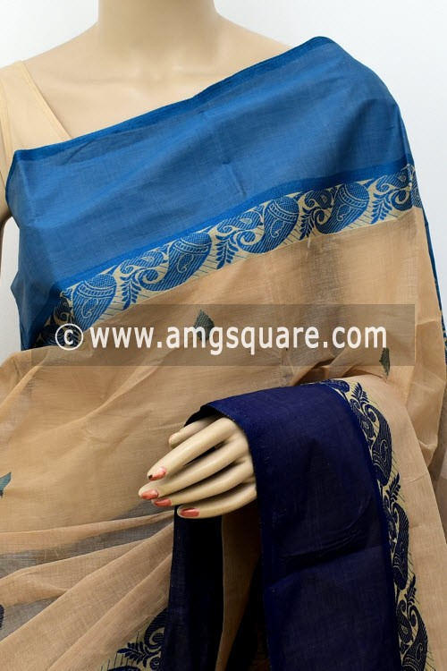 Fawn Exclusive Handwoven Bengal Tant Cotton Saree (Without Blouse) Ganga Yamuna Border 17598