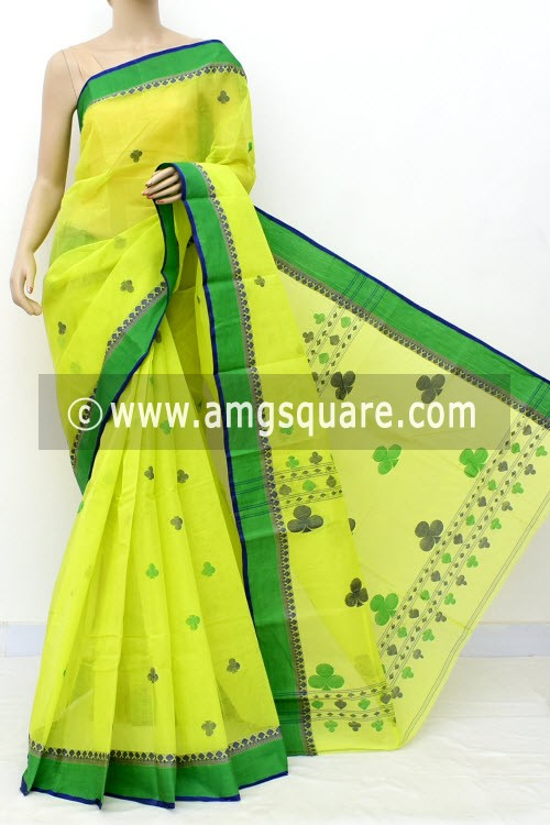 Greenish Yellow Exclusive Handwoven Bengal Tant Cotton Saree (With Blouse) 17599