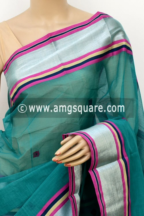 Sea Green Exclusive Handwoven Bengal Tant Cotton Saree (With Blouse) Zari Border 17602