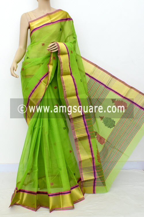 Parrot Green Exclusive Handwoven Bengal Tant Cotton Saree (With Blouse) Zari Border 17603
