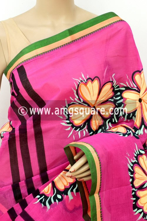 Pink Hand-printed Bengal Tant Cotton Saree (Without Blouse) 17623