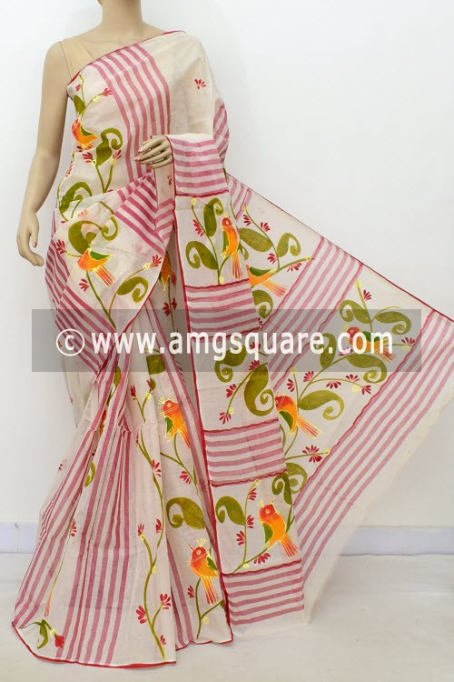 Off White Hand-printed Bengal Tant Cotton Saree (Without Blouse) 17624