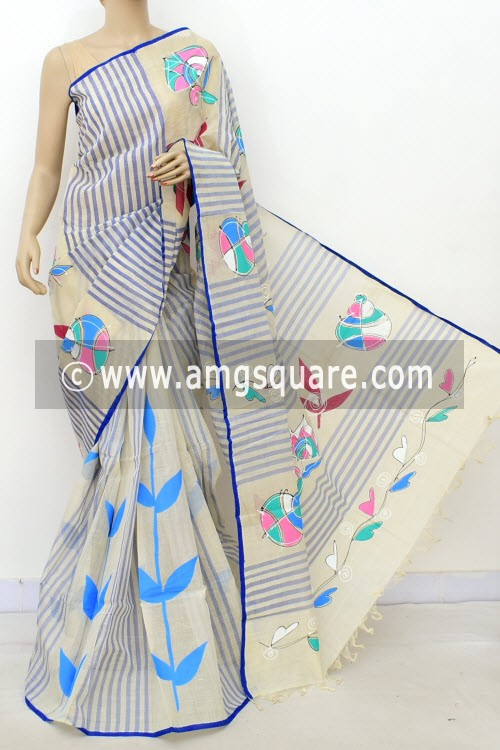 Off White Hand-printed Bengal Tant Cotton Saree (Without Blouse) 17625