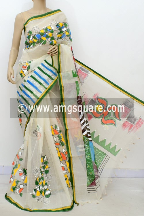 Off White Hand-printed Bengal Tant Cotton Saree (Without Blouse) 17627