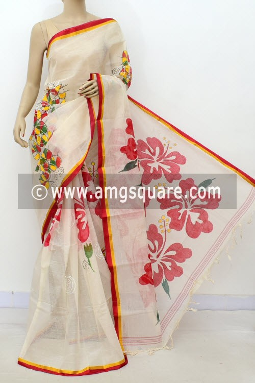 Off White Hand-printed Bengal Tant Cotton Saree (Without Blouse) 17628