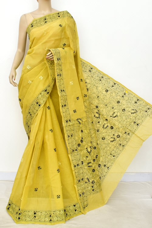 Light Menhdi Green Hand Embroidered Kantha Work Bengal Tant Cotton Saree (Without Blouse) 17630