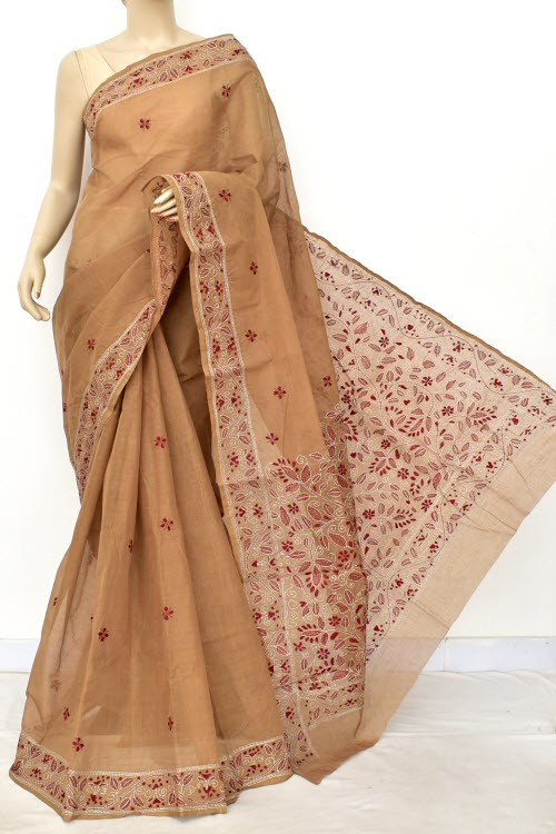 Light Chocolatee Hand Embroidered Kantha Work Bengal Tant Cotton Saree (Without Blouse) 17631