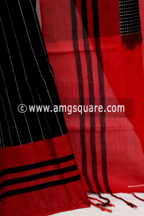 Black Red Handwoven Bengal Tant Soft Cotton Saree (With Blouse) 17638