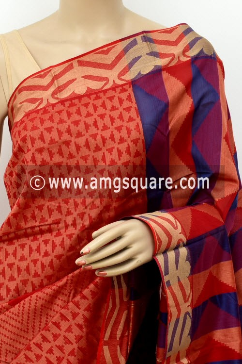 Red Blue Half-Half Cot-Silk Saree (With Blouse) 17639