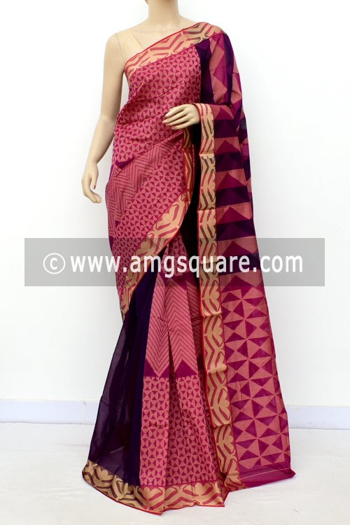 Magenta Half-Half Cot-Silk Saree (With Blouse) 17640