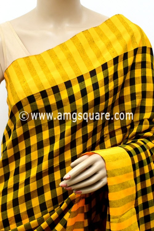 Yellow Black Handloom Soft Cotton Saree (With Blouse) 17644