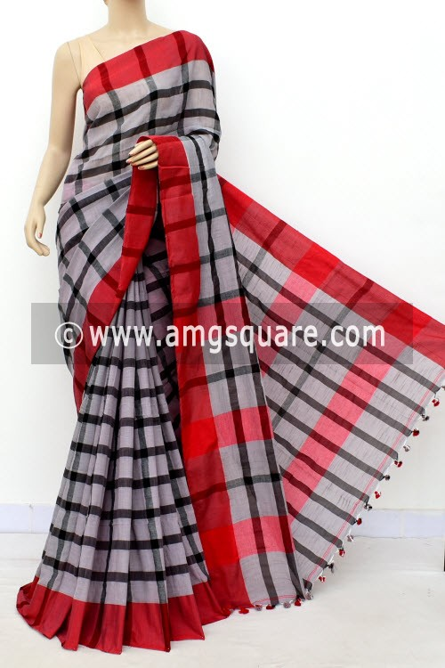 Grey Black Handloom Soft Cotton Saree (With Blouse) Red Border 17649