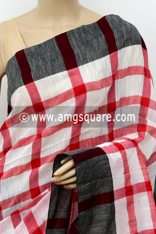 White Red Handloom Soft Cotton Saree (With Blouse) Black Border 17657