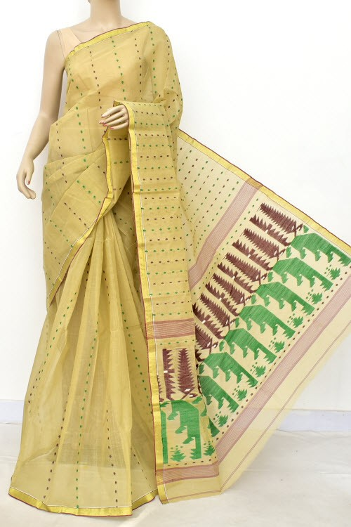 Beige Handloom Thousand Booti Bengal Tant Cotton Saree (Without Blouse) 17660