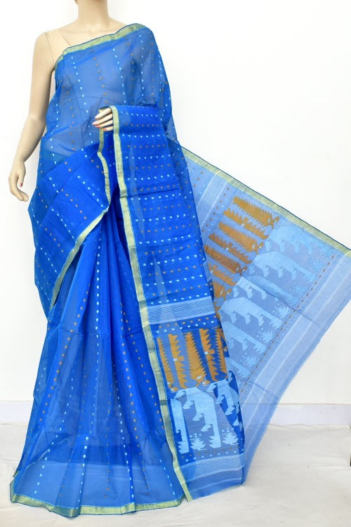 Blue Handloom Thousand Booti Bengal Tant Cotton Saree (Without Blouse) 17661