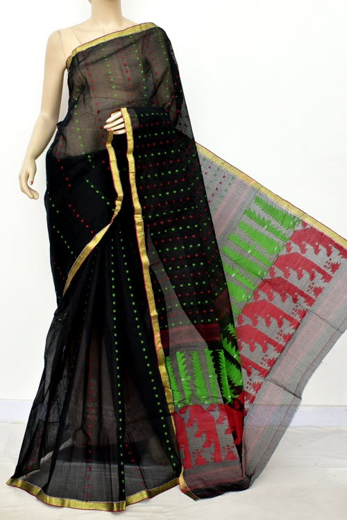 Black  Handloom Thousand Booti Bengal Tant Cotton Saree (Without Blouse) 17663