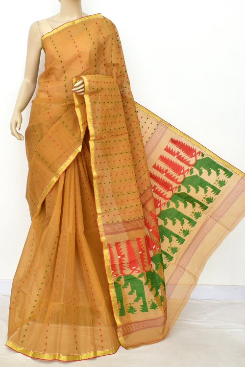 Fawn Handloom Thousand Booti Bengal Tant Cotton Saree (Without Blouse) 17664