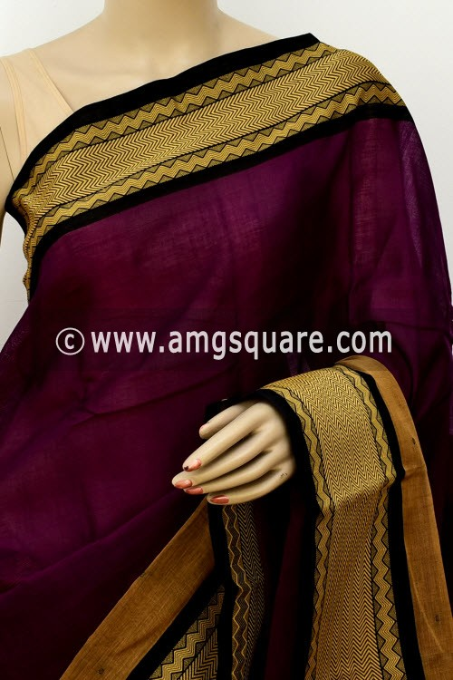 Purple Handwoven Bengal Tant Soft Cotton Saree (With Blouse) 17682