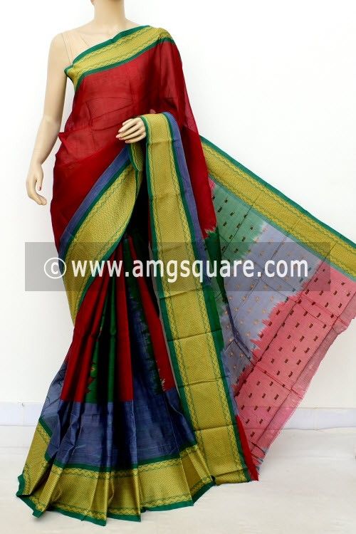 Red Grey Handwoven Bengal Tant Soft Cotton Saree (With Blouse) 17683