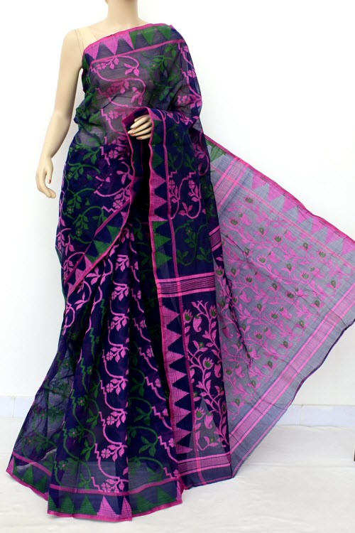 Navy Blue Pink Jamdani Handloom Bengal Tant Cotton Saree (Without Blouse) 17684