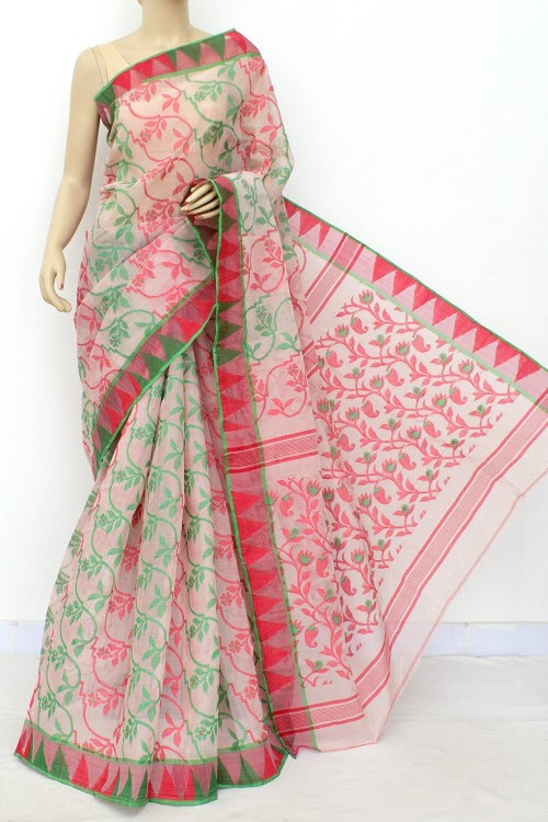 Pinkish White Jamdani Handloom Bengal Tant Cotton Saree (Without Blouse) 17686