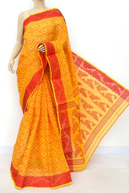 Turmeric Yellow Red Jamdani Handloom Bengal Tant Cotton Saree (Without Blouse) 17694
