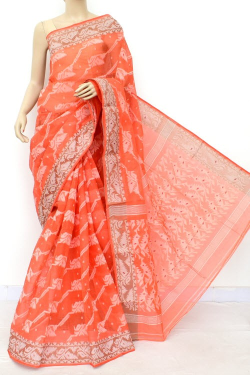 Orange Jamdani Handloom Bengal Tant Cotton Saree (Without Blouse) 17696