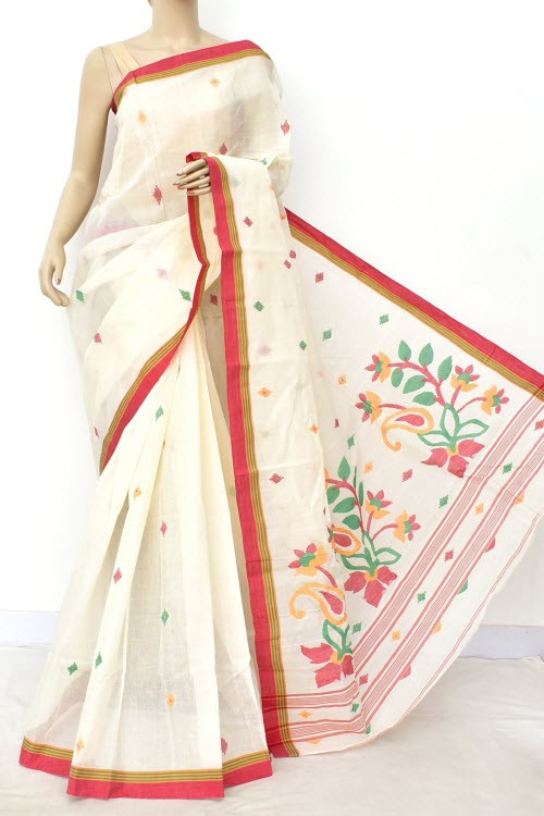Off White Pure Jamdani Handloom Bengal Tant Cotton Saree (Without Blouse) Allover Booti 17705