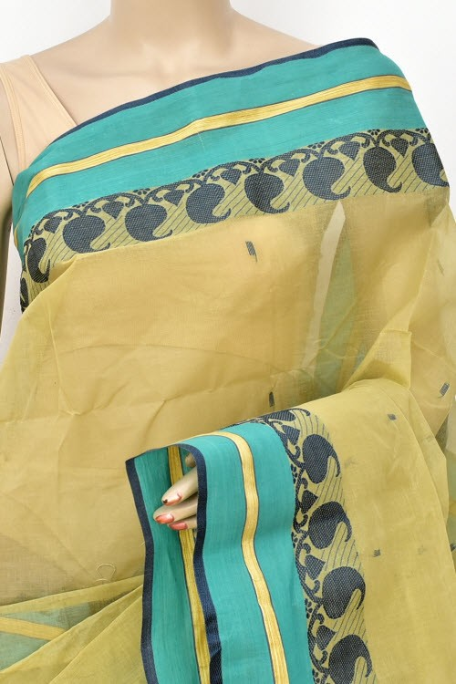 Ochre Yellow Handwoven Bengali Tant Cotton Saree (Without Blouse) 17728