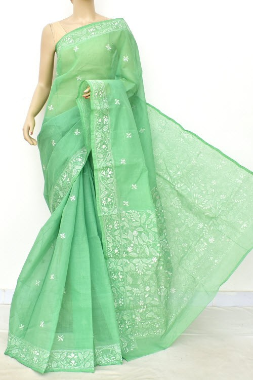 Pista Green Hand Embroidered Kantha Work Bengal Tant Cotton Saree (Without Blouse) 17746