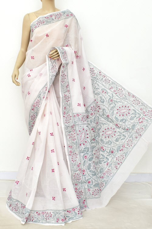 White Hand Embroidered Kantha Work Bengal Tant Cotton Saree (Without Blouse) 17754