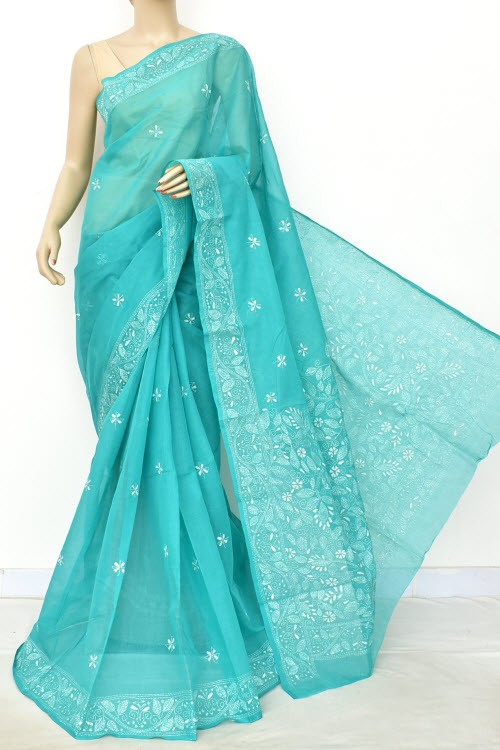 Sea Green Hand Embroidered Kantha Work Bengal Tant Cotton Saree (Without Blouse) 17756