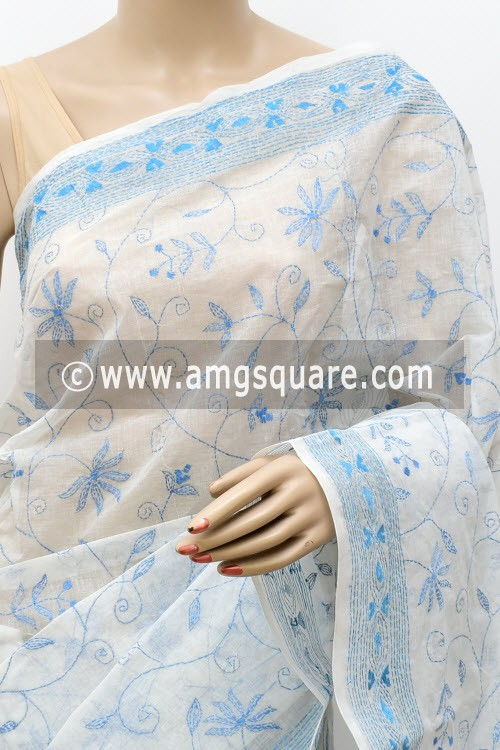 White Sky Blue Allover Hand Embroidered Kantha Work Bengal Tant Cotton Saree (Without Blouse) 17757