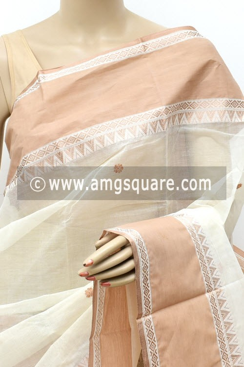 Off White Handwoven Bengal Tant Cotton Saree (Without Blouse) 17762