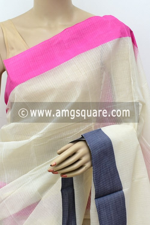 Off White Handwoven Bengal Tant Cotton Saree (Without Blouse) Ganga Yamuna Border 17763