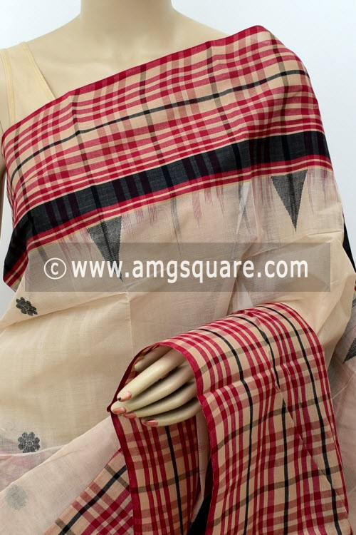 Fawn Exclusive Handwoven Bengal Tant Cotton Saree (Without Blouse) Check Border 17766
