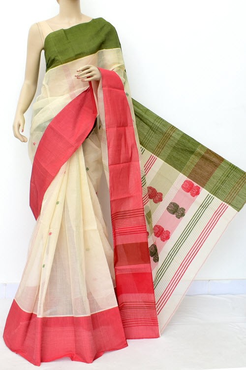 Off White Handwoven Bengal Tant Cotton Saree (Without Blouse) Ganga Yamuna Border 17774