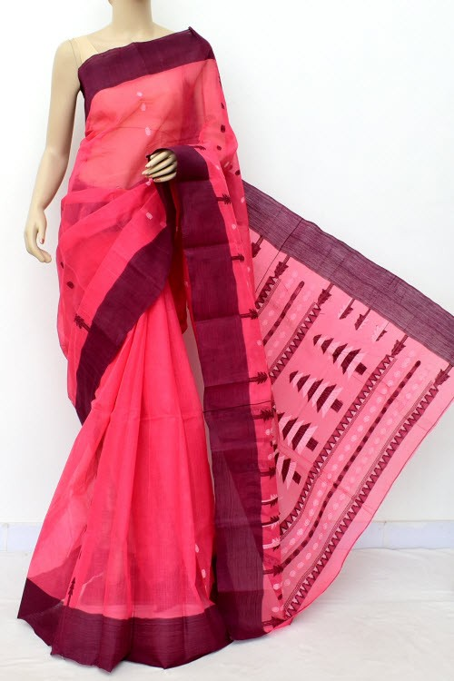 Dark Peach Handloom Bengal Tant Cotton Saree (Without Blouse) 17778