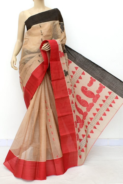 Fawn Handloom Bengal Tant Cotton Saree (Without Blouse) Ganga Yamuna Border 17781