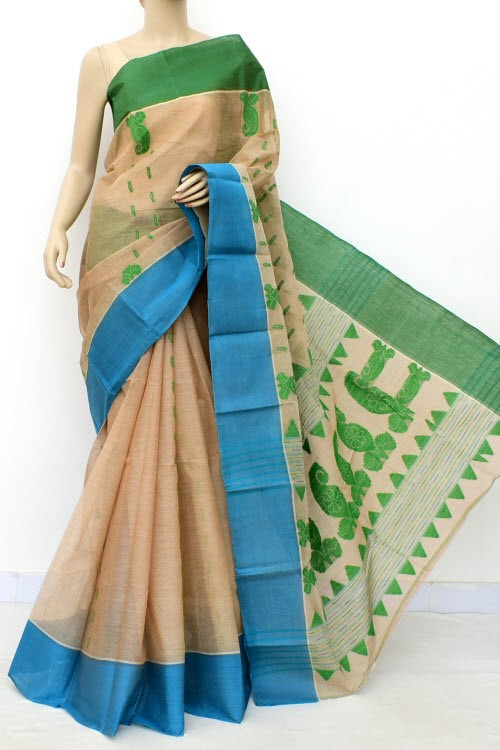 Fawn Handloom Bengal Tant Cotton Saree (Without Blouse) Ganga Yamuna Border 17782