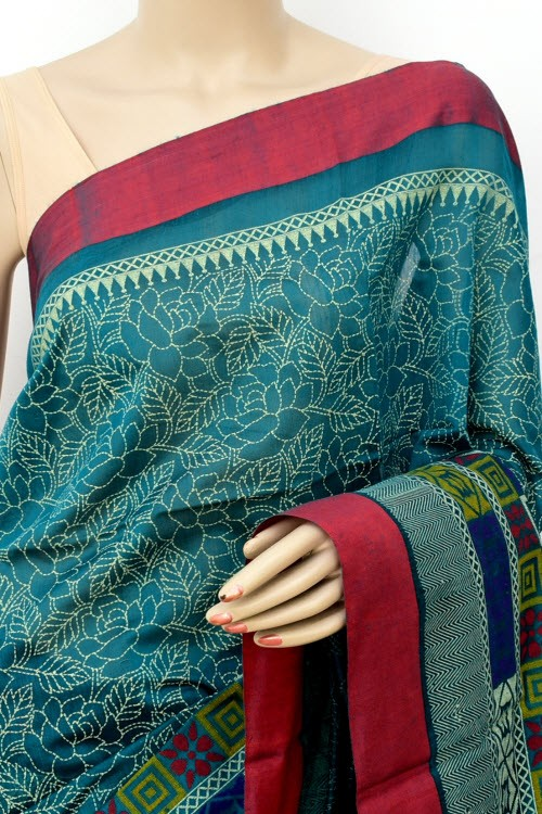 Sea Green Fawn Handloom Masturised Cotton Saree (With Contrast Blouse) 17784
