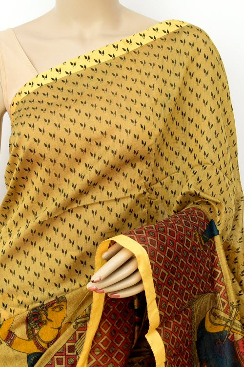 Fawn Handloom Masturised Cotton Saree (With Contrast Blouse) Figure Print 17787