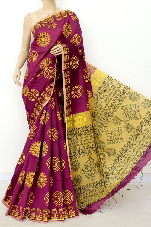 Magenta Fawn Handloom Masturised Cotton Printed Saree (With Contrast Blouse) 17789