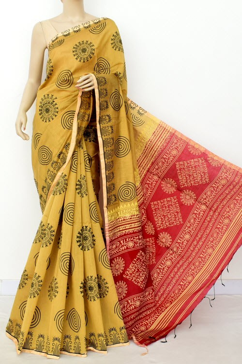 Fawn Red Handloom Masturised Cotton Printed Saree (With Contrast Blouse) 17791